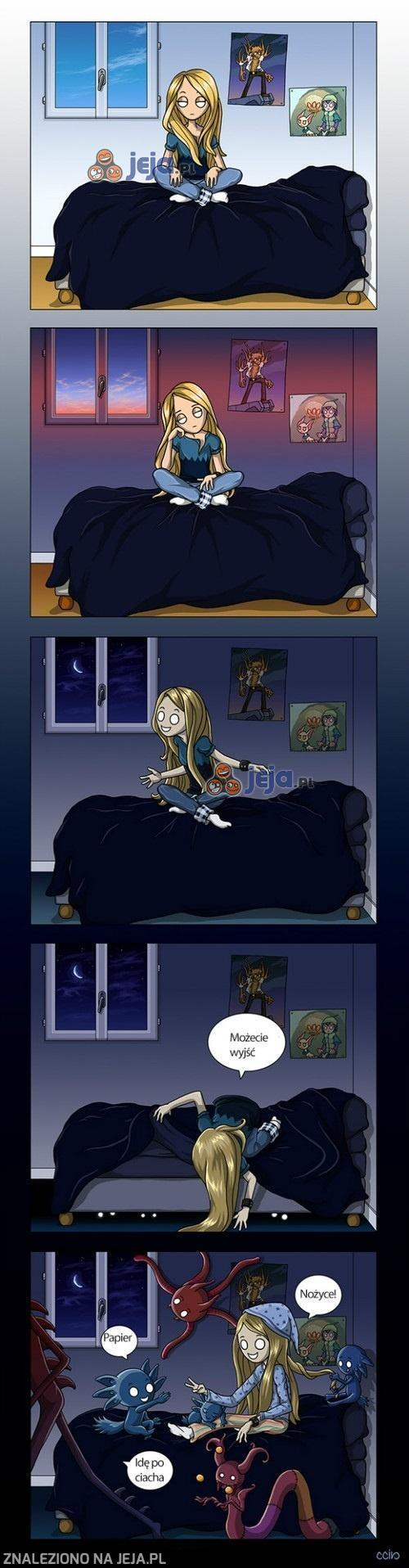 Nocne zabawy z kumplami spod łóżka