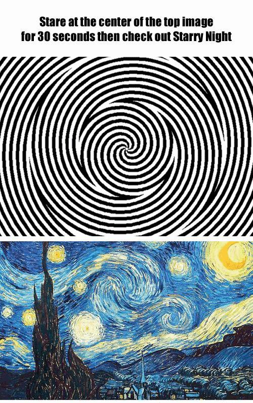 Patrz się przez 30 sekund na górny obraz,a potem na ten na dole