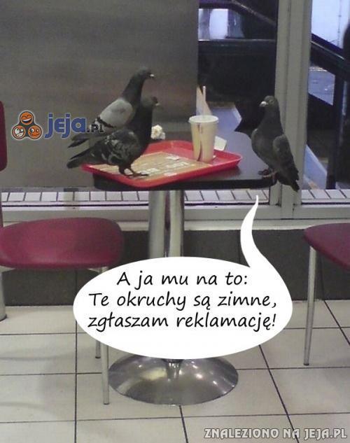 Tymczasem gołębie w restauracji