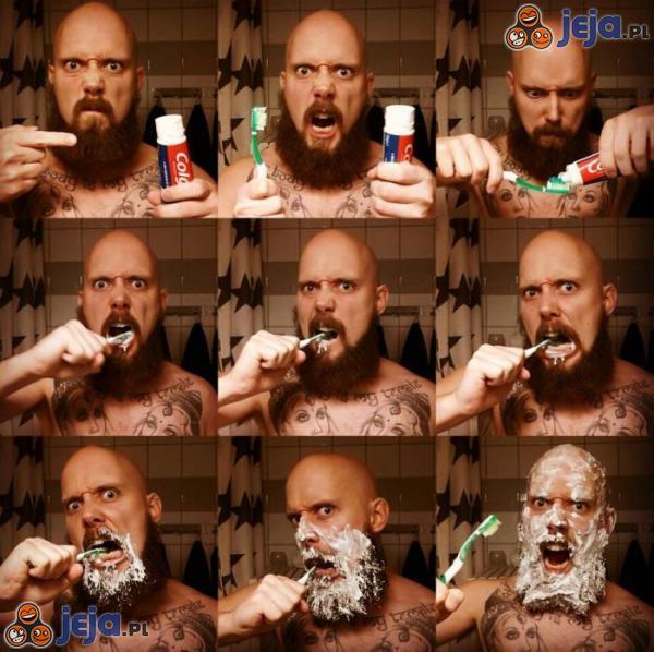 Jak myje zęby prawdziwy twardziel