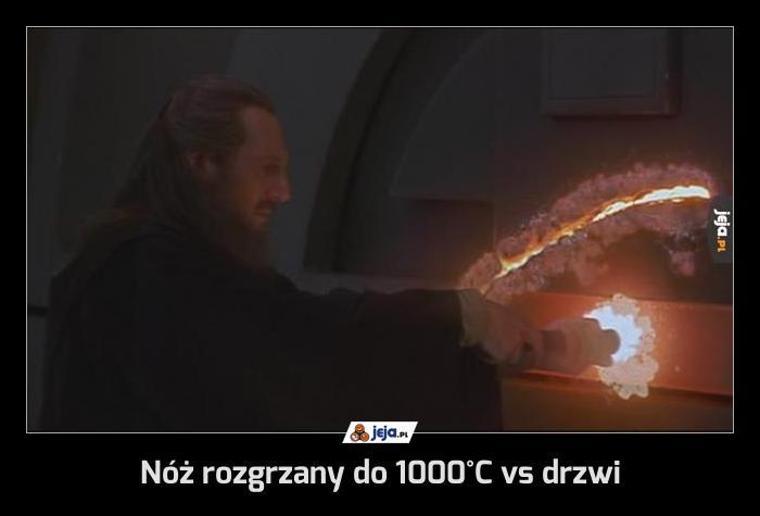 Nóż rozgrzany do 1000°C vs drzwi