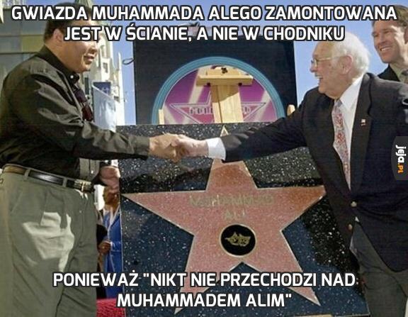 Gwiazda Muhammada Alego zamontowana jest w ścianie, a nie w chodniku