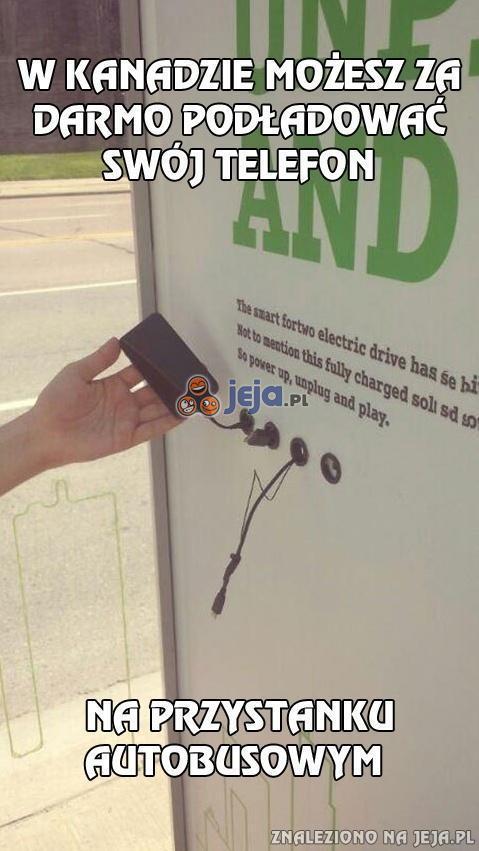 W Kanadzie możesz za darmo podładować swój telefon...