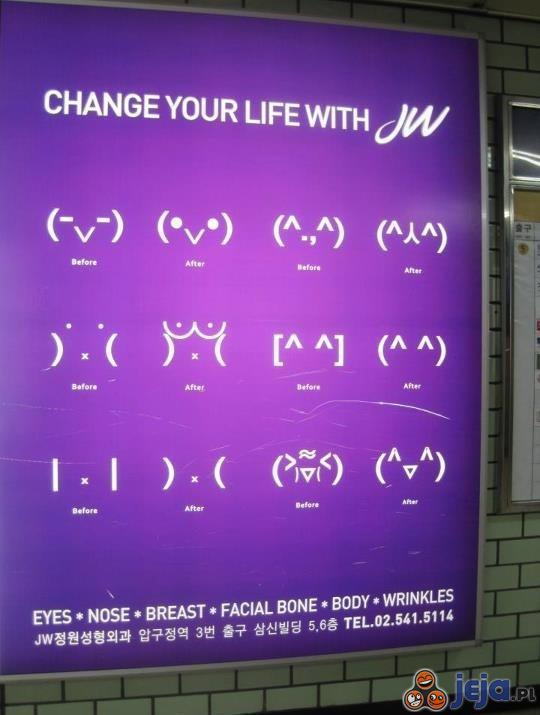 Reklama chirurgii plastycznej w Korei