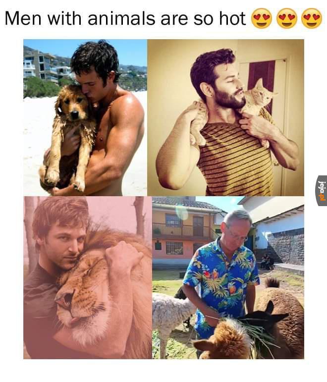 Faceci ze zwierzakami są gorący