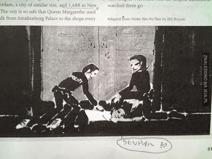 Rysunek z tekstu na lekcji angielskiego