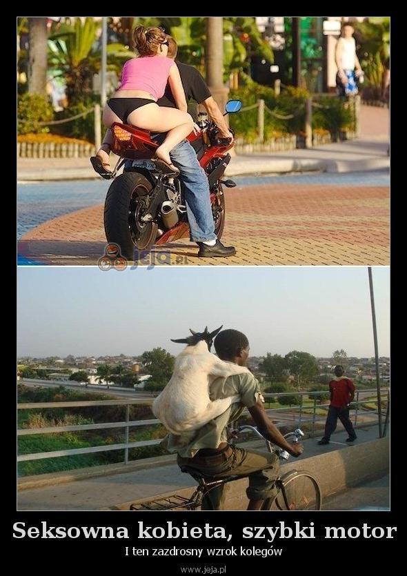 Seksowna kobieta, szybki motor