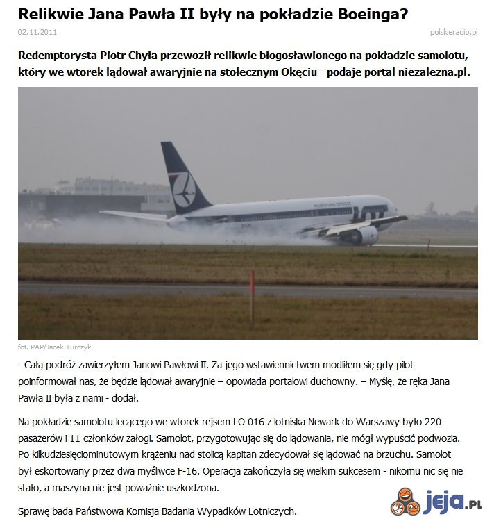 Cud na pokładzie Boeinga?