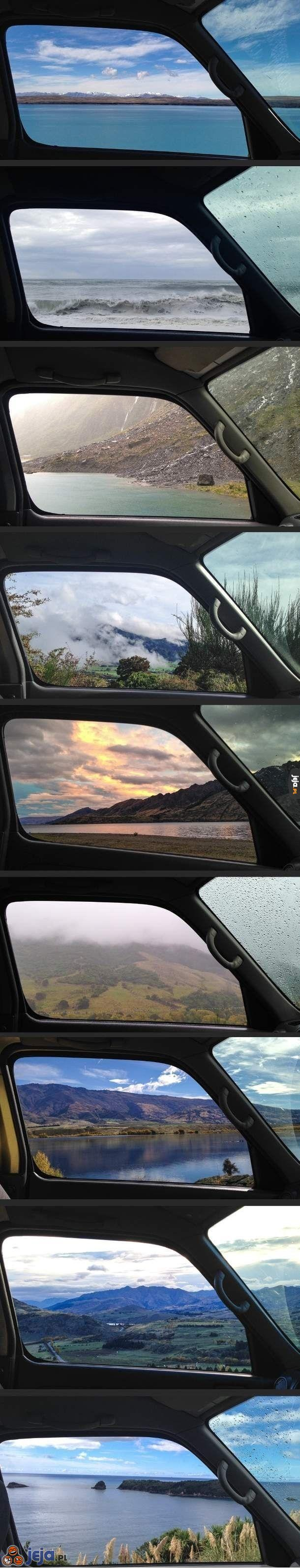 Nowa Zelandia z okna samochodu