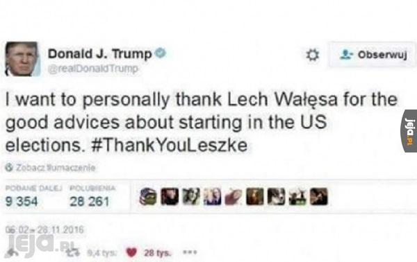 Podziękowania dla Wałęsy