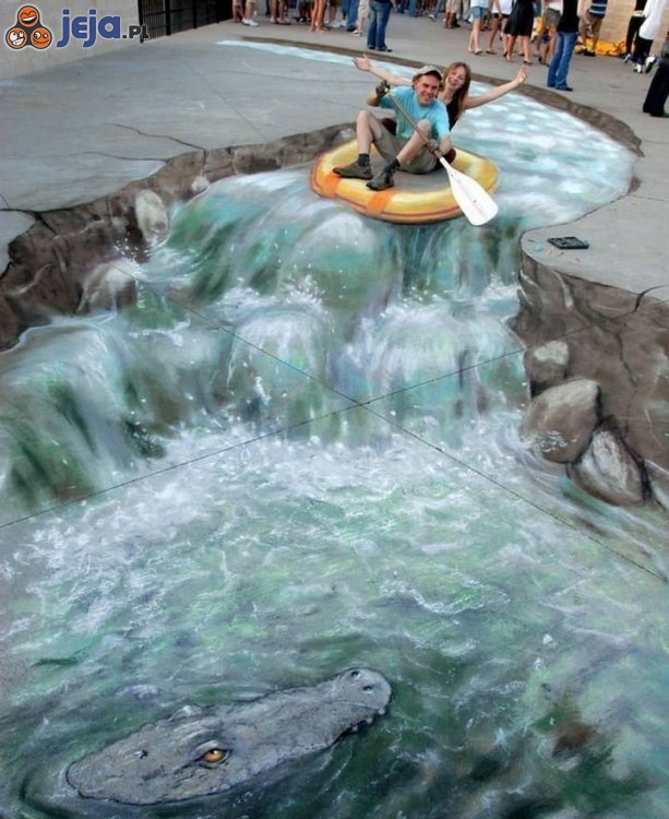 Iluzja na chodniku - wodospad