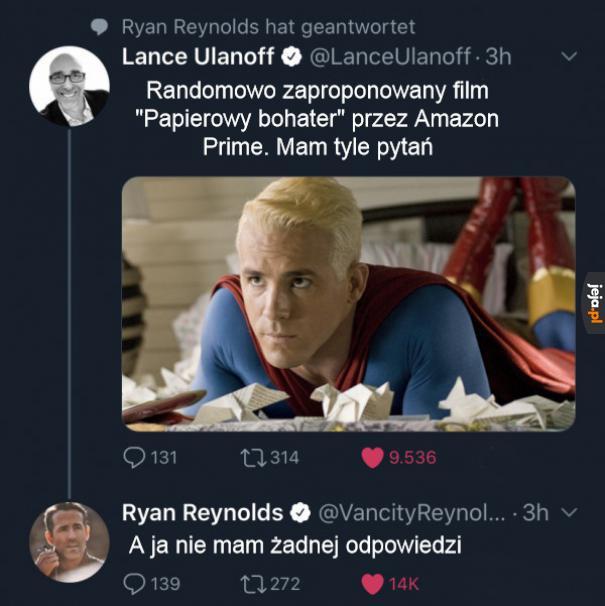 Przez chwilę myślałem że Reynolds zagrał Supermana