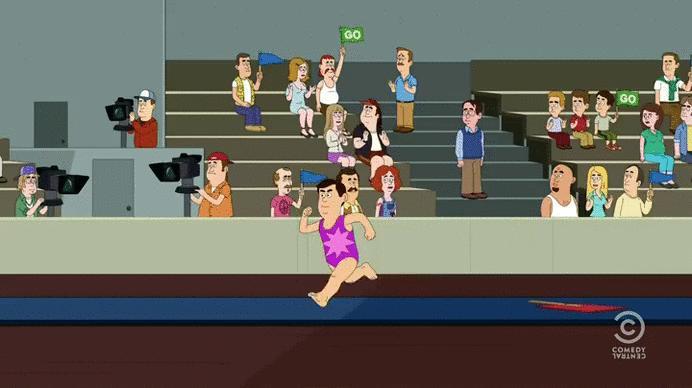 Tymczasem na zawodach z gimnastyki