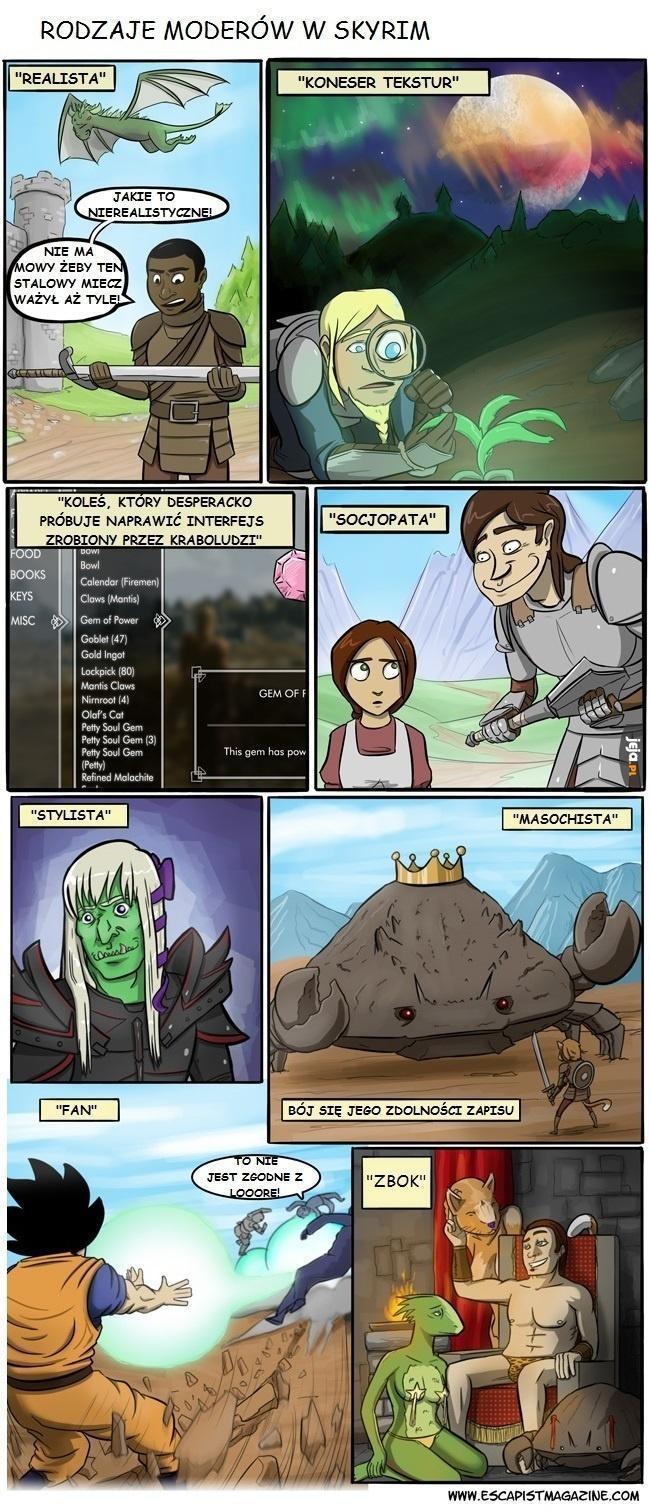 Rodzaje moderów w Skyrim