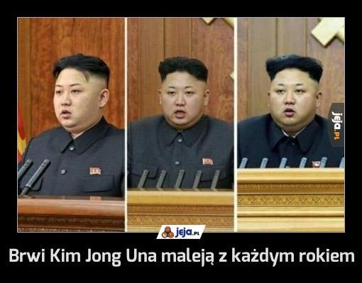 Brwi Kim Jong Una maleją z każdym rokiem
