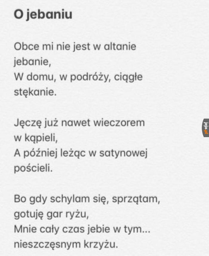 Ten wiersz powinien się pojawić na przyszłorocznej maturze