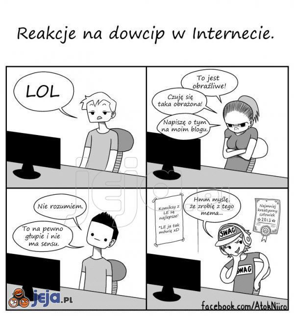 Reakcje na dowcip w Internecie