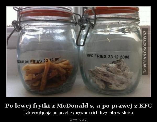 Po lewej frytki z McDonald's, a po prawej z KFC
