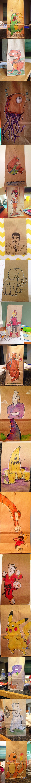 Rysunki na papierowych torebkach