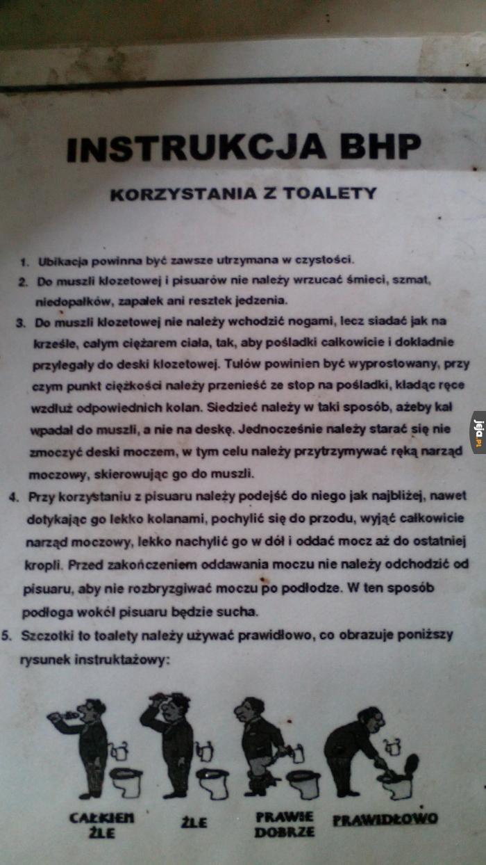 Instrukcja BHP korzystania z toalety