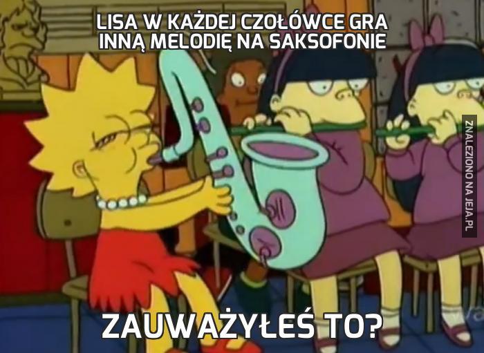 Lisa w każdej czołówce gra inną melodię na saksofonie