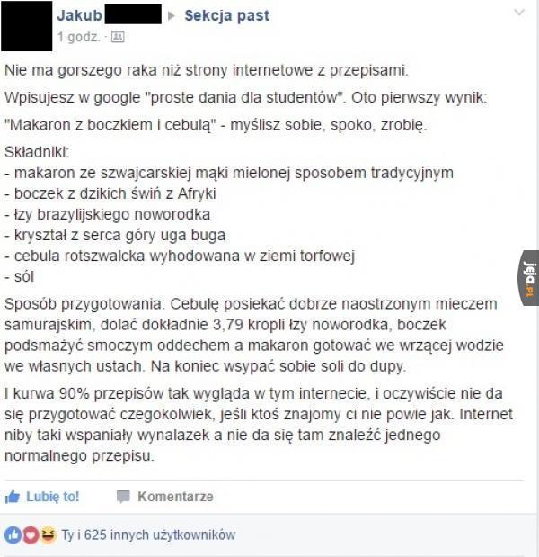 Przepisy w internecie