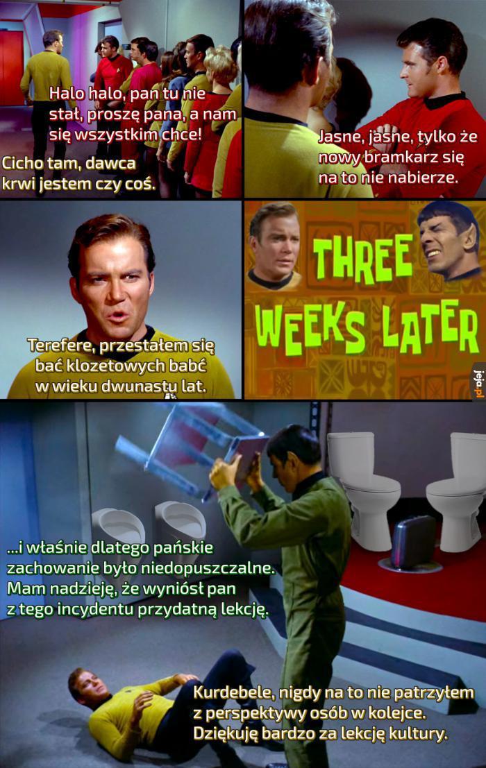 Kapitan był pouczany przez trzy tygodnie, bo wepchnął się do toalety potężnej babci klozetowej