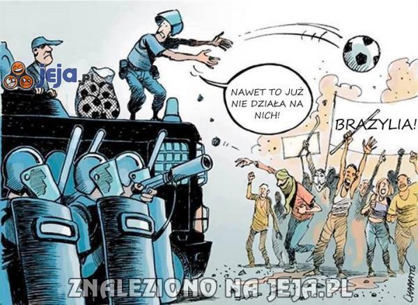 Walka z protestującymi w Brazylii