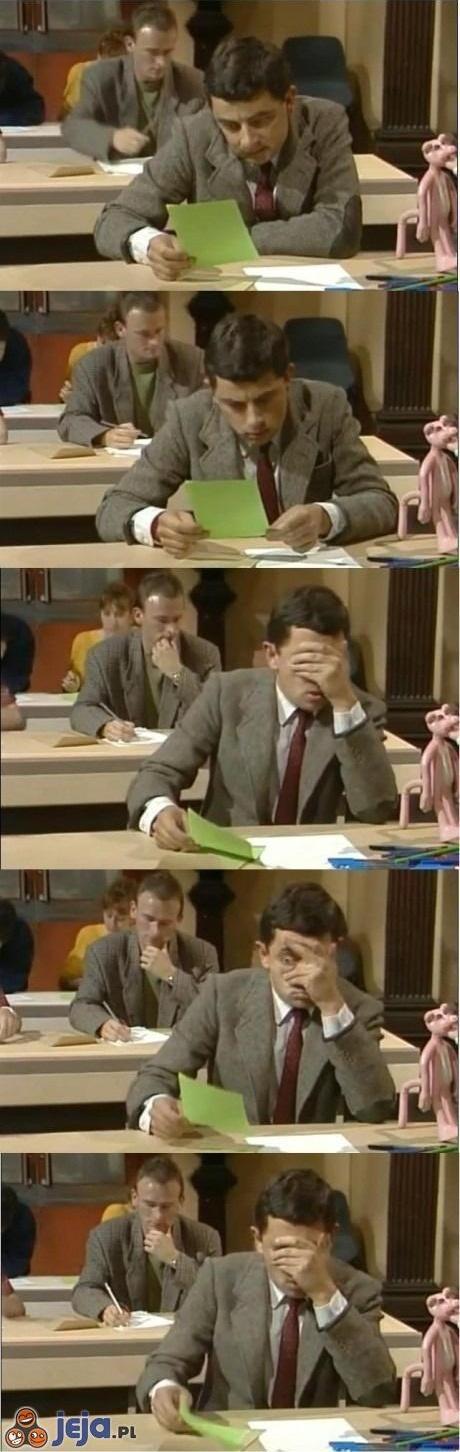 Reakcja gdy widzisz swój sprawdzian