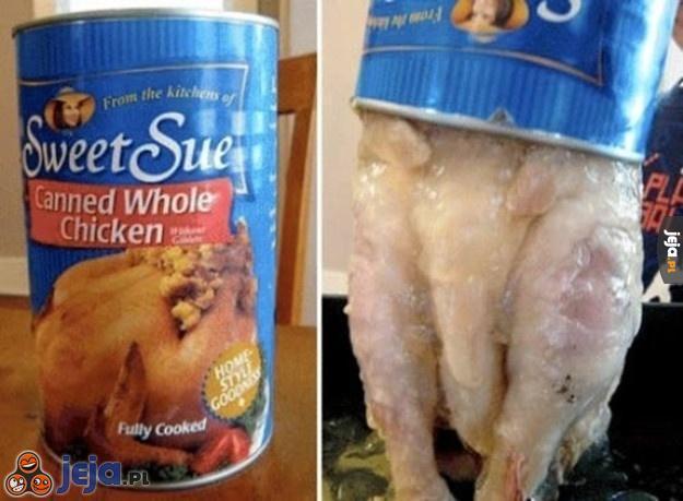 Ugotowany cały kurczak w konserwie - ktoś chętny?