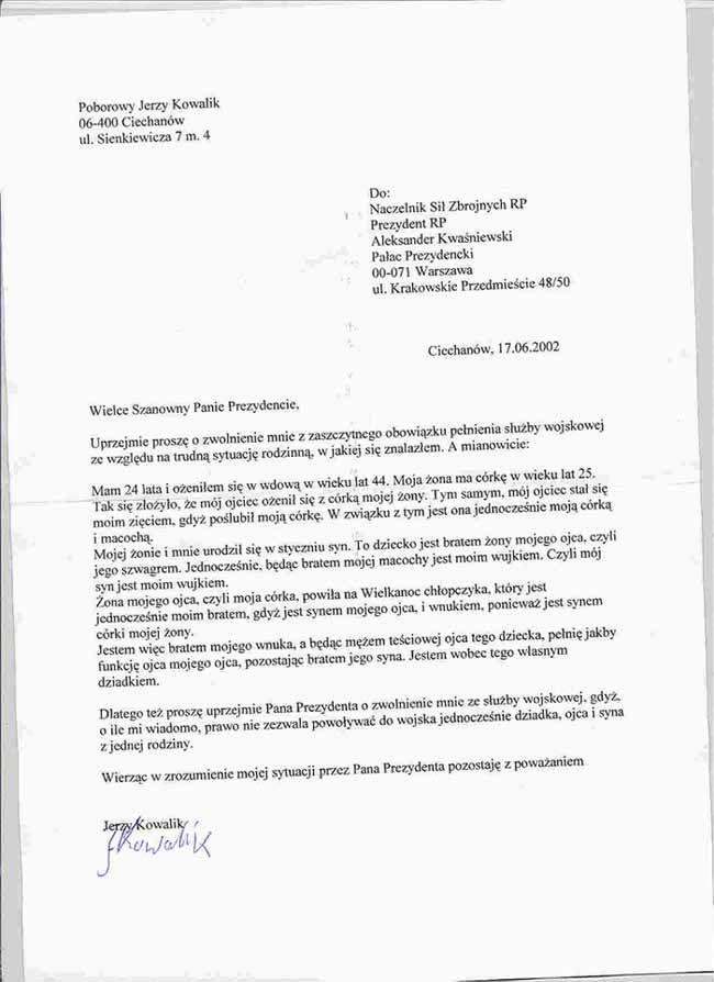List do prezydenta