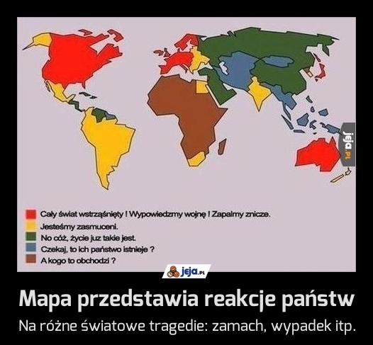 Mapa przedstawia reakcje państw