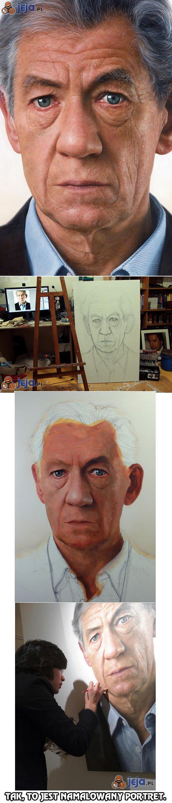 Portret namalowany w mistrzowskim stylu