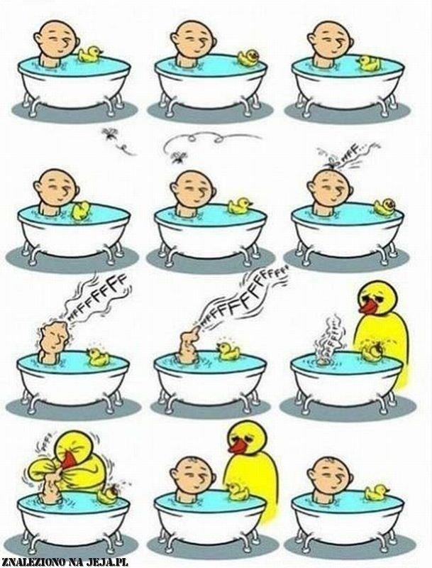 Kąpiel z dmuchaną zabawką