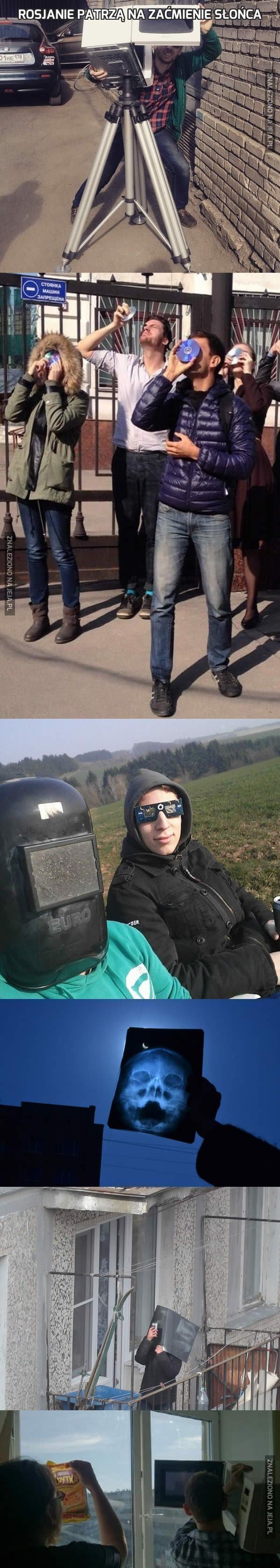 Rosjanie patrzą na zaćmienie Słońca