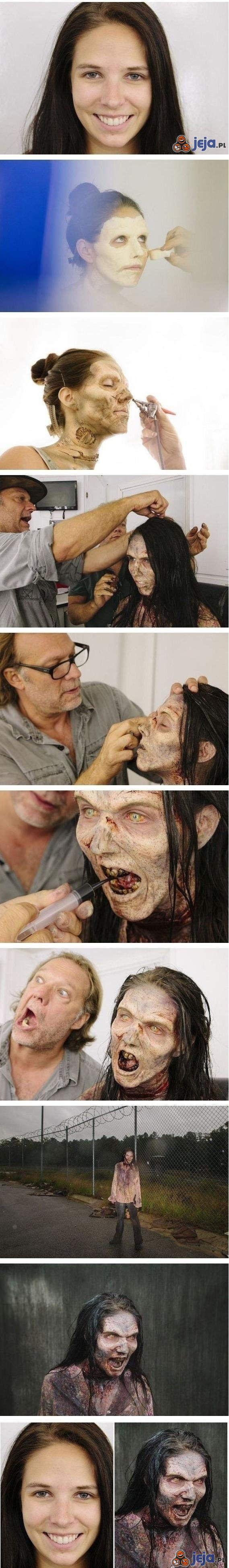 Niesamowity makijaż zombie