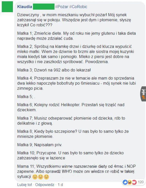 Pożar vs matki na Facebooku