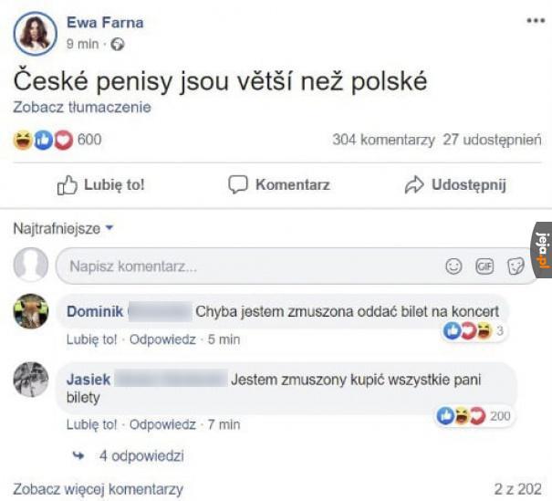 Wczoraj ktoś włamał się Ewie Farnej na Facebooka