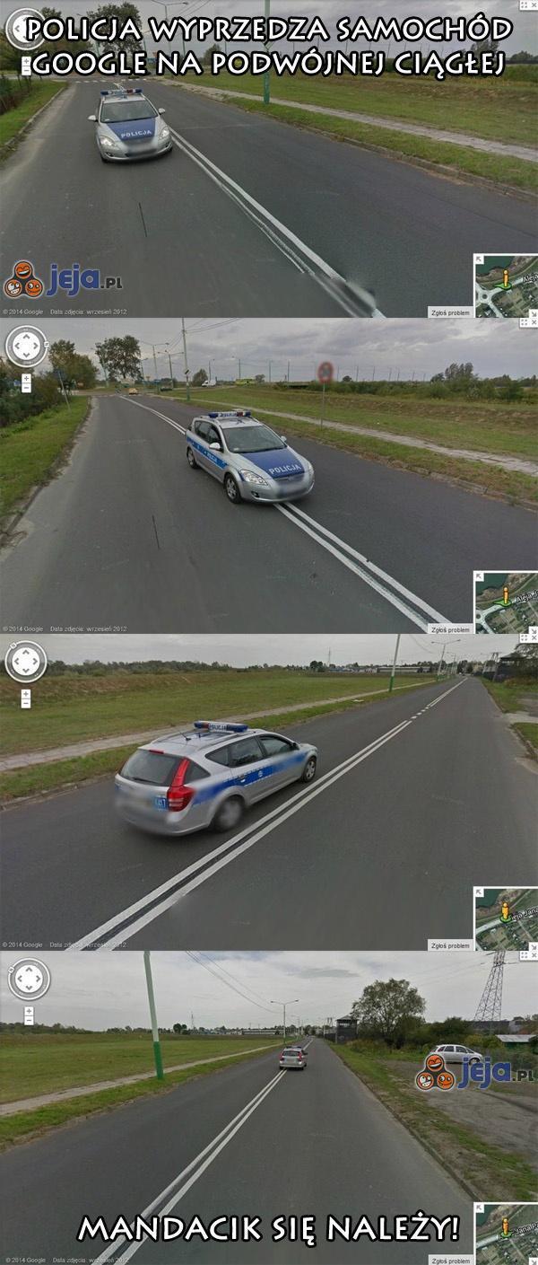 Policja wyprzedza na podwójnej ciągłej