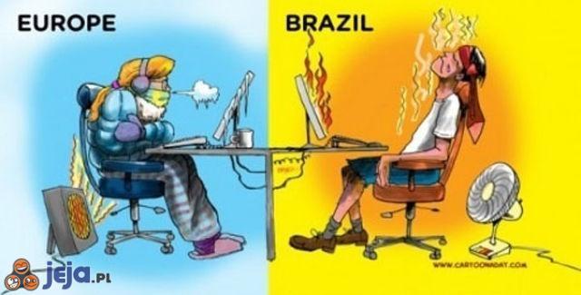 Praca przy komputerze: Europa vs Brazylia