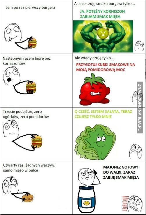 Czym może smakować hamburger?