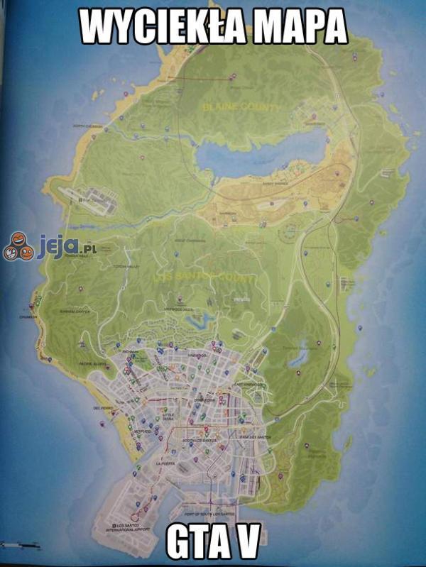 Wyciekła mapa GTA V