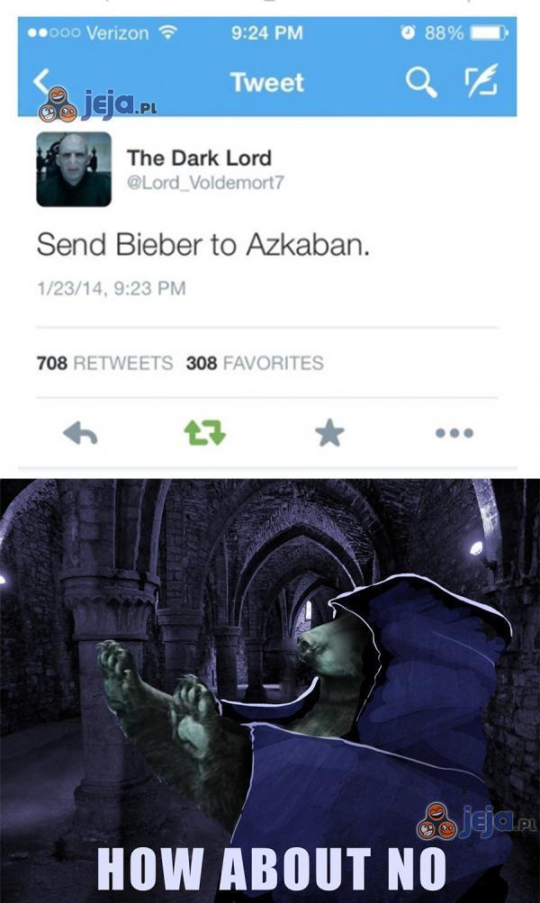 Biebera nie chcą nawet w Azkabanie