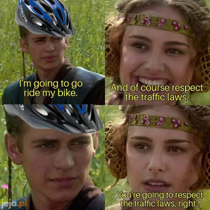 Rowerzyści i przestrzeganie przepisów drogowych
