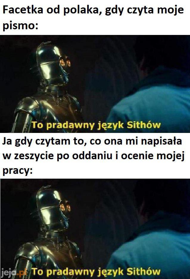 Ech, ten pradawny język Sithów...