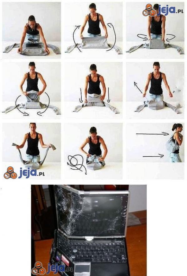 Jak kończy się pakowanie laptopa w bluzę