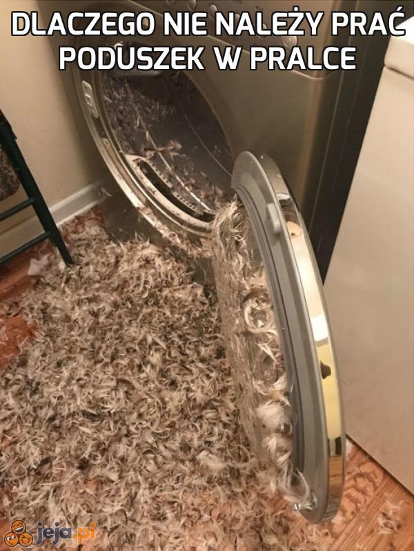 Dlaczego nie należy prać poduszek w pralce