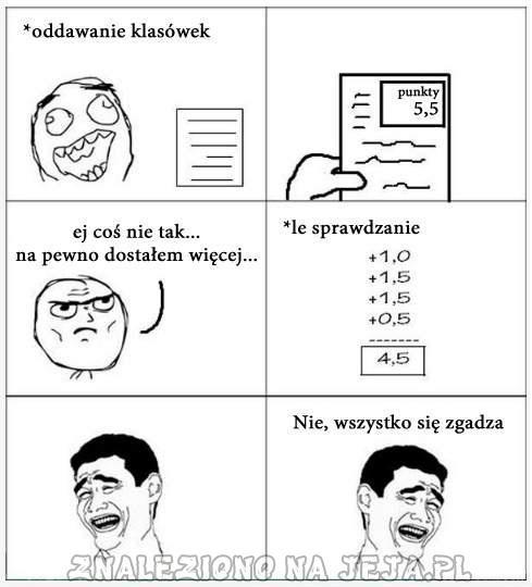 Punkty z klasówki