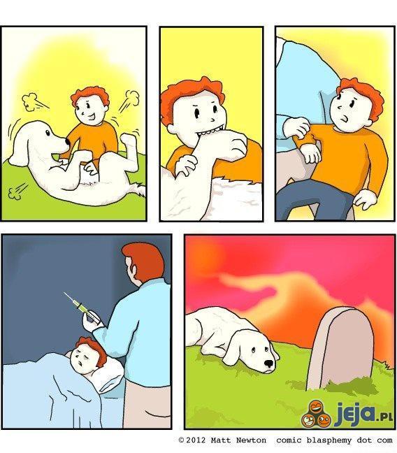 Tragiczne skutki zabawy dziecka z psem