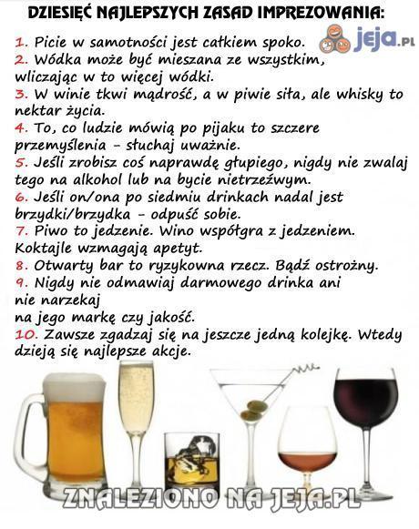 Dziesięć najlepszych zasad imprezowania